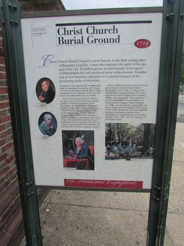 Christ Church Burial Ground Marker image. Click for full size.