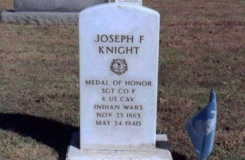 Sgt. Joseph F. Knight-Indian Campaign Congressional Medal of Honor Recipient-grave marker image. Click for full size.