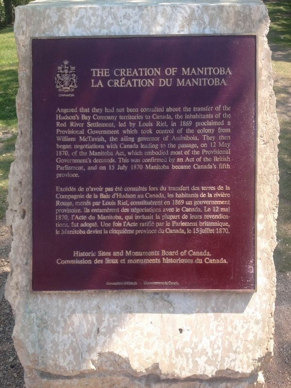 The Creation of Manitoba Marker image. Click for full size.