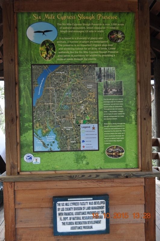 Six Mile Cypress Slough Preserve Marker image. Click for full size.