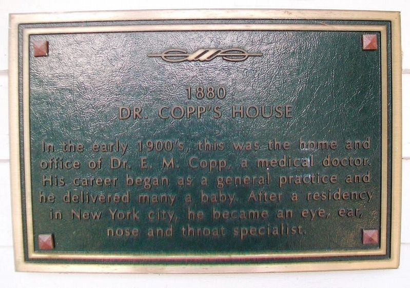Dr. Copp's House Marker image. Click for full size.