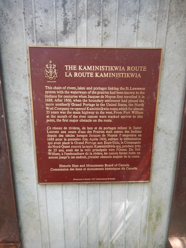 The Kaministikwia Route Marker image. Click for full size.