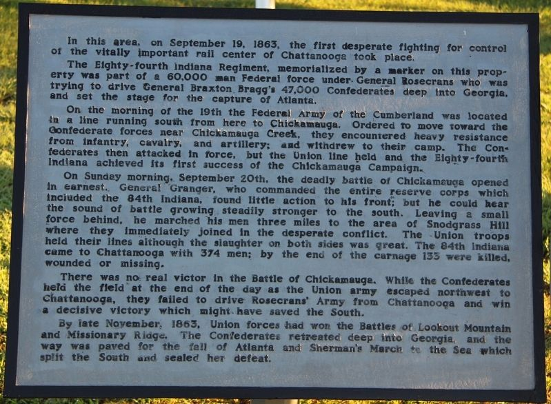 84th Indiana Infantry Marker image. Click for full size.
