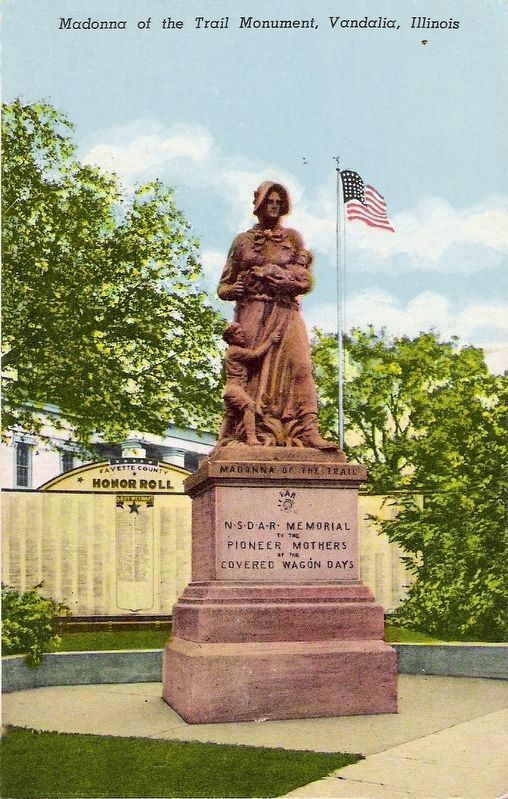 Madonna of the Trail Monument, Vandalia Illinois image. Click for full size.