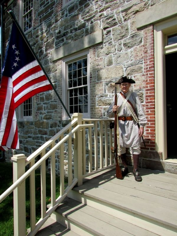Colonial Soldier at the Ford – Faesch House image. Click for full size.