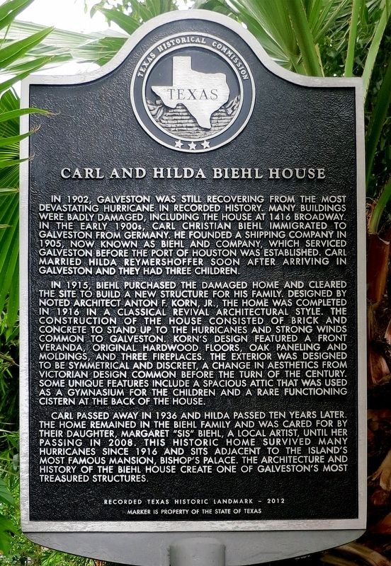 Carl and Hilda Biehl House Marker image. Click for full size.