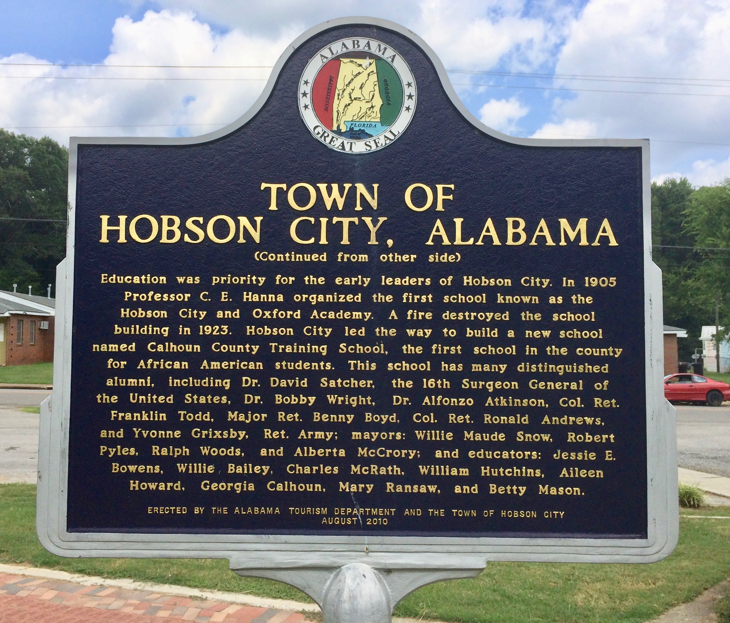 Town of Hobson City, Alabama Marker (rear)