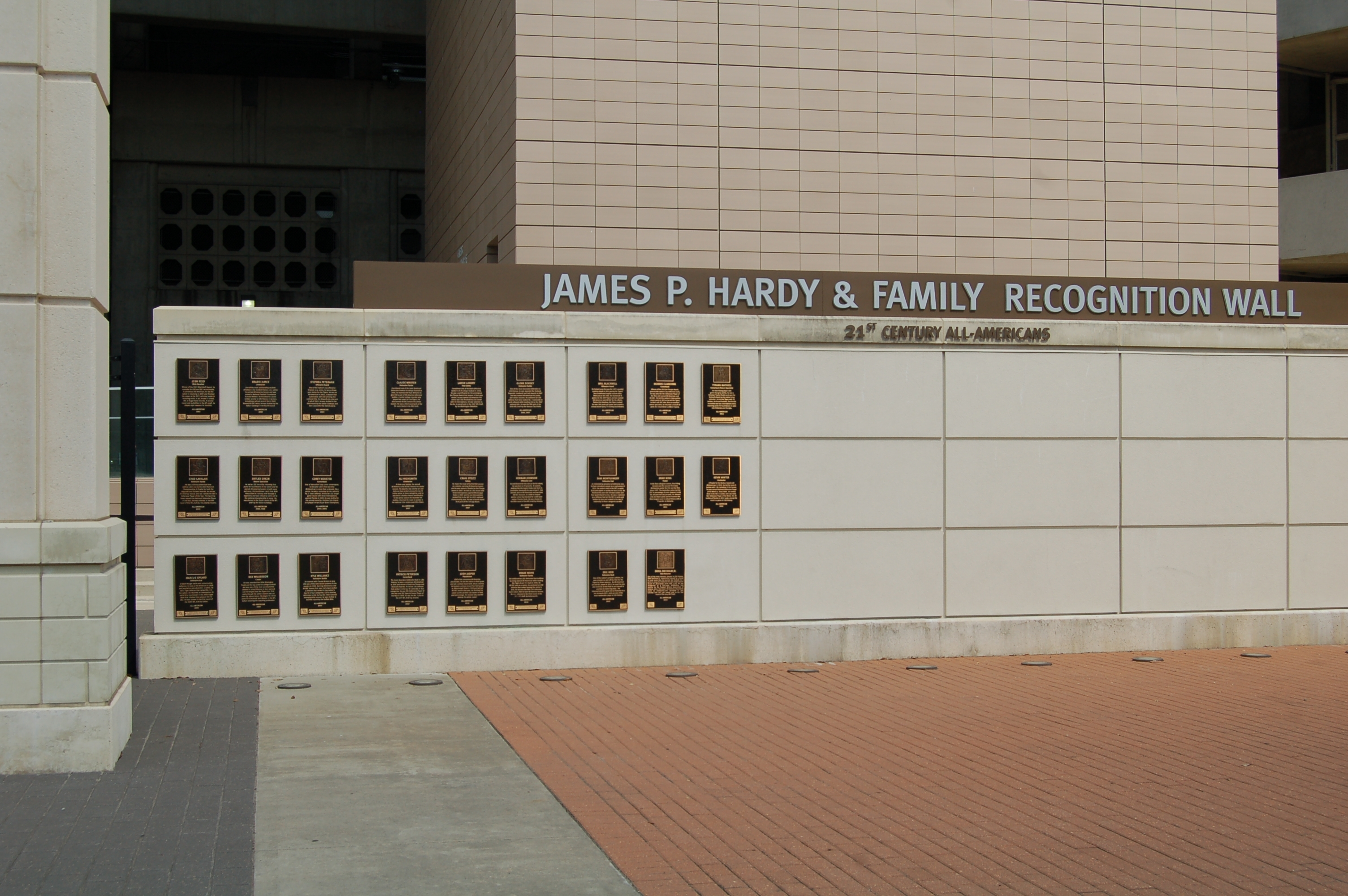 the James P. Hardy & Family Recognition Wall.