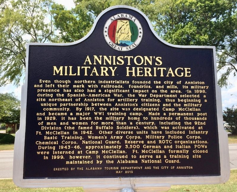 Anniston's Military Heritage Marker image. Click for full size.