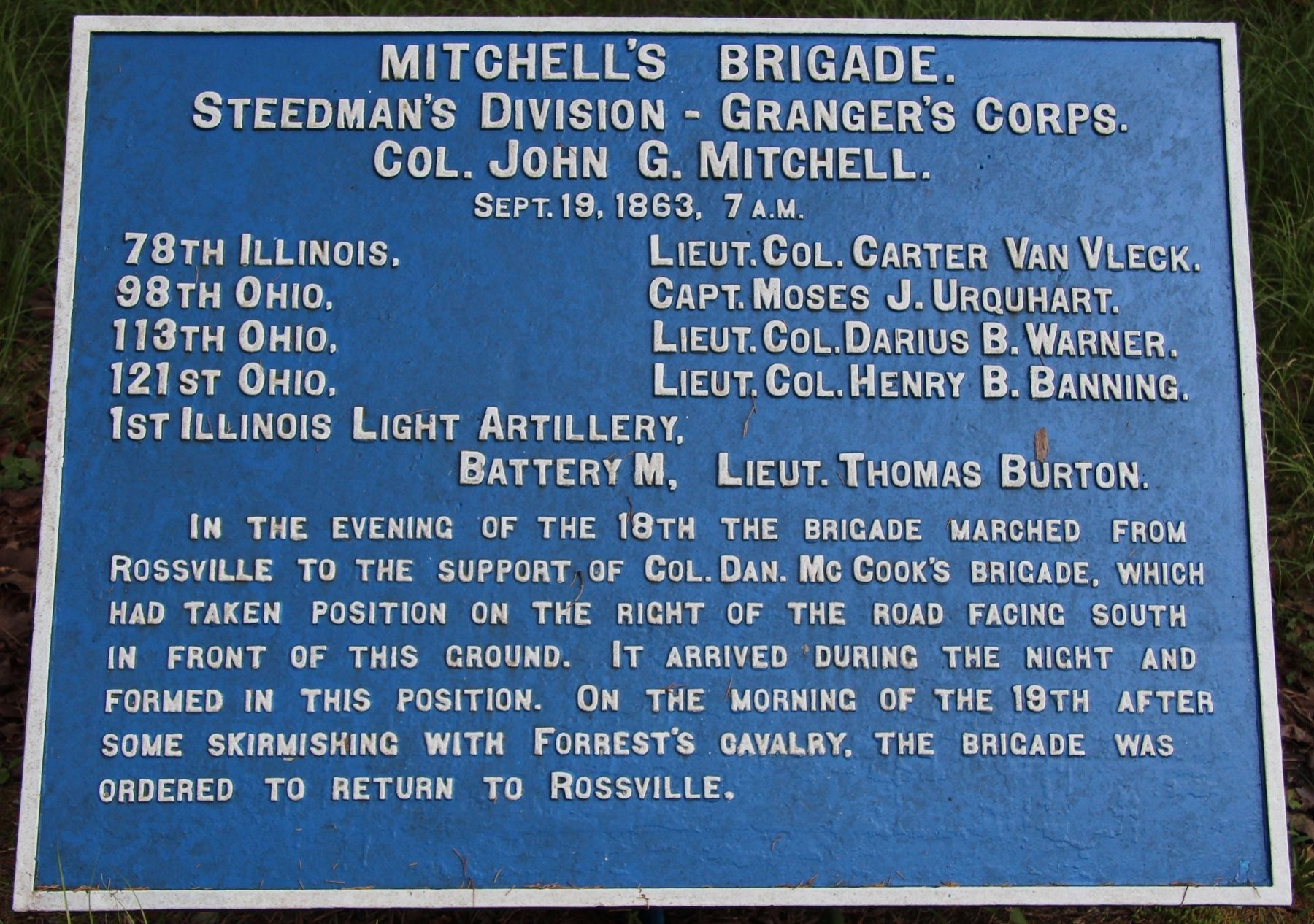 Mitchell's Brigade Marker image. Click for full size.