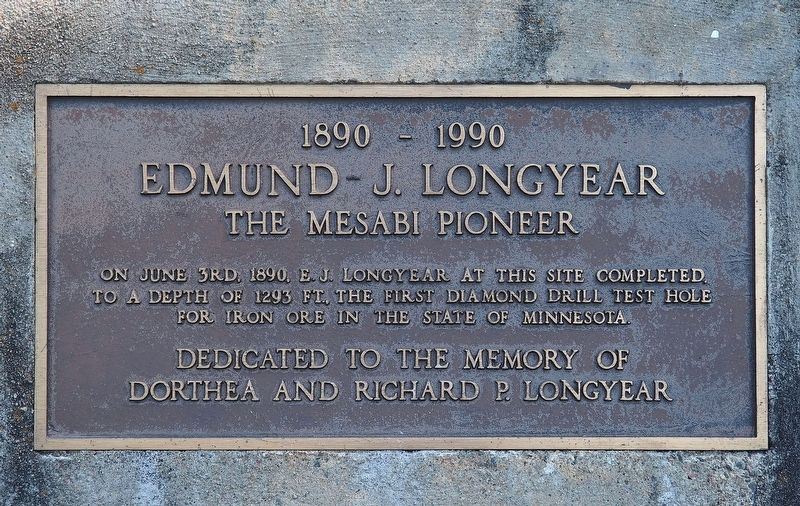 Edmund J. Longyear, the Mesabi Pioneer marker image. Click for full size.