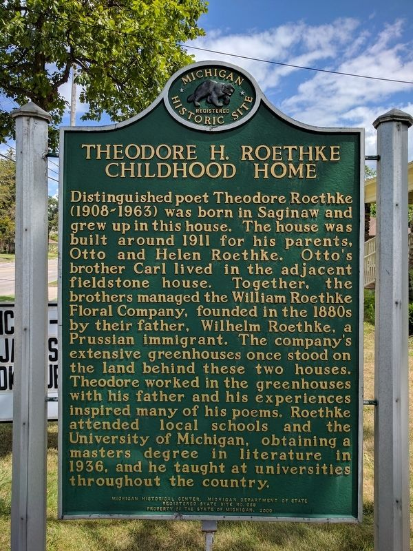 Theodore H. Roethke Childhood Home Marker (Side 1) image. Click for full size.