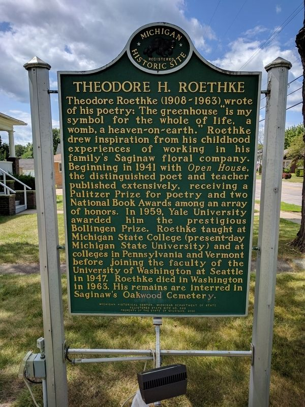 Theodore H. Roethke Marker (Side 2) image. Click for full size.
