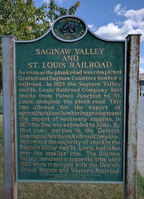 Saginaw Valley and St. Louis Railroad Marker (Side 2) image. Click for full size.