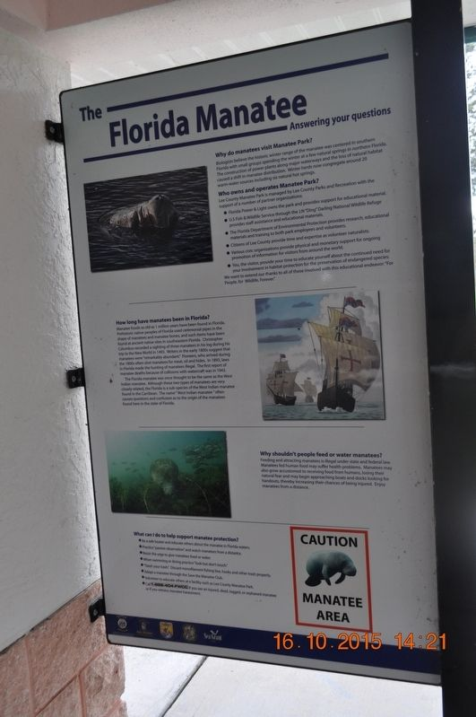 The Florida Manatee Answering your questions Marker image. Click for full size.