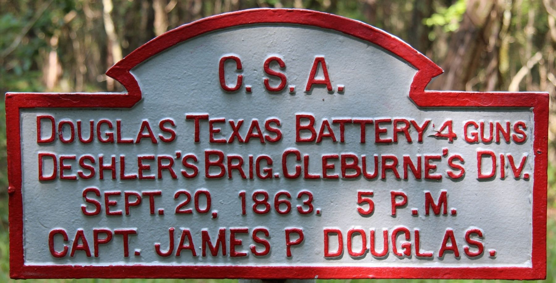 Douglas' Texas Battery Marker image. Click for full size.