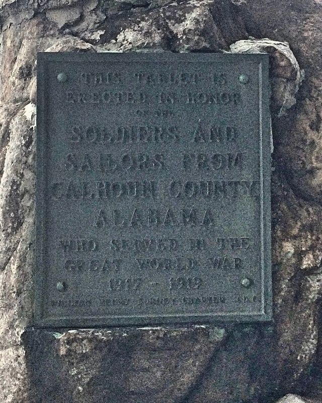 Calhoun County World War I Memorial tablet. (South side) image. Click for full size.