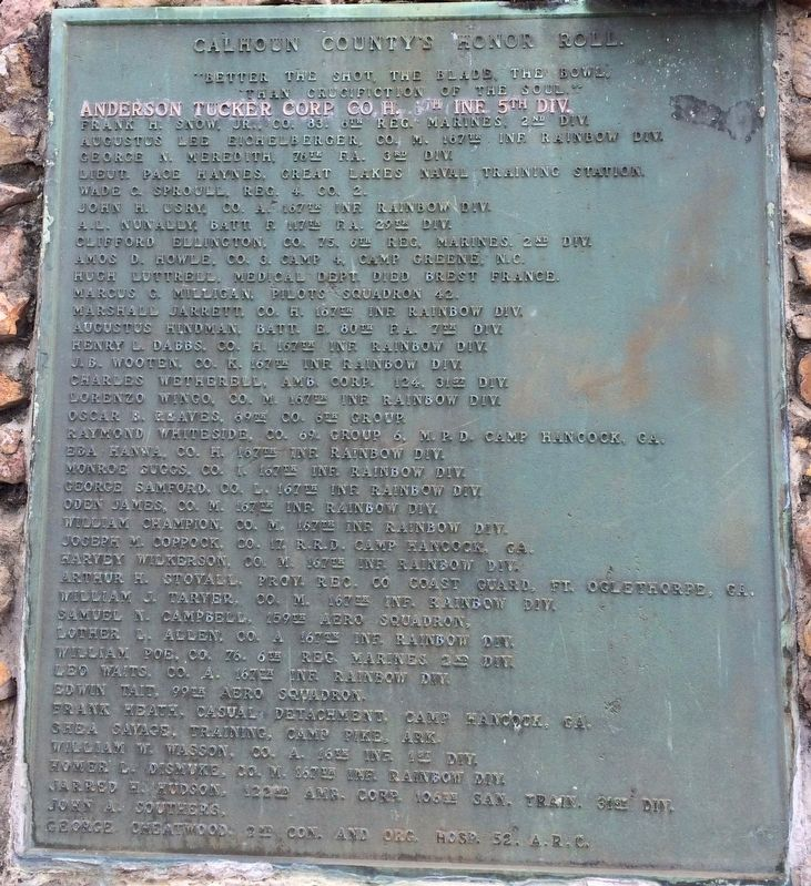Calhoun County World War I Honor Roll (North side) image. Click for full size.