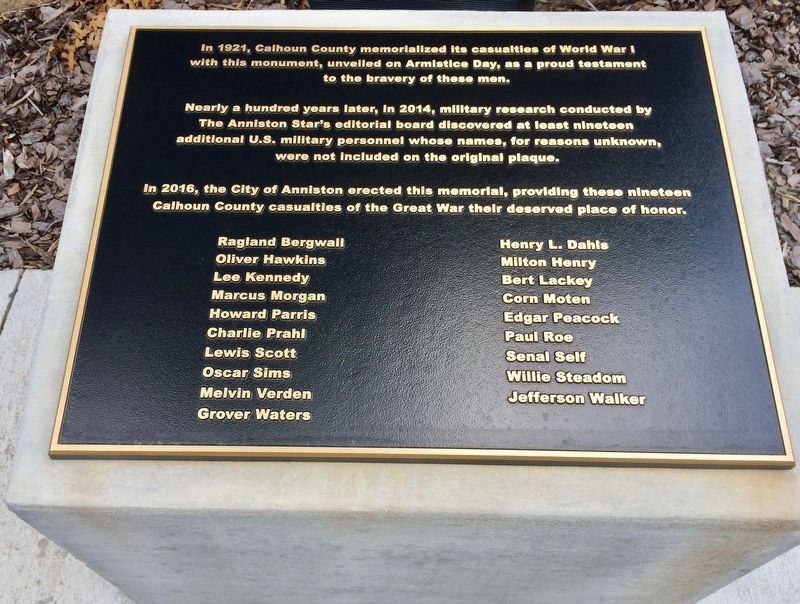 Lower plaque added in 2016 adding 19 names left off the 1921 plaque. image. Click for full size.