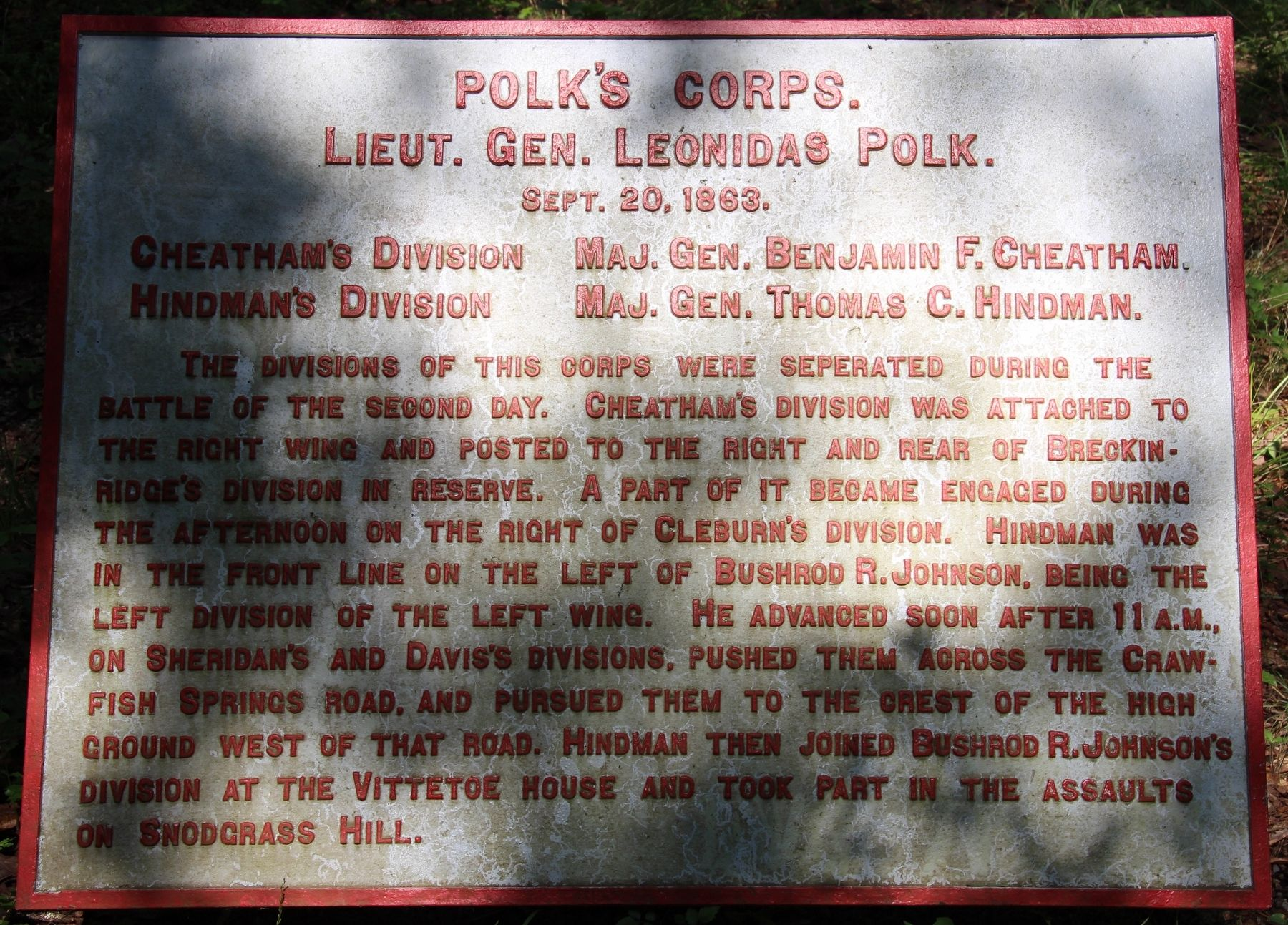 Polk's Corps Marker image. Click for full size.