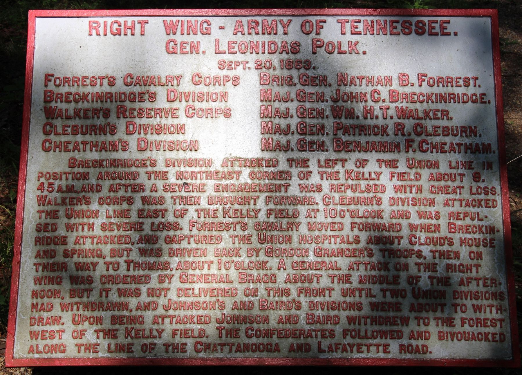 Right Wing - Army of Tennessee Marker image. Click for full size.