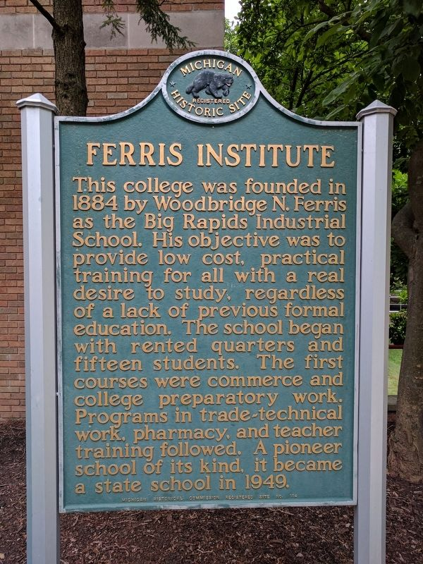 Ferris Institute Marker image. Click for full size.