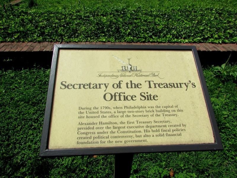 Secretary of the Treasury's Office Site Marker image. Click for full size.