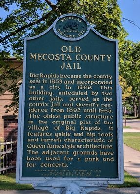 Old Mecosta County Jail Marker image. Click for full size.