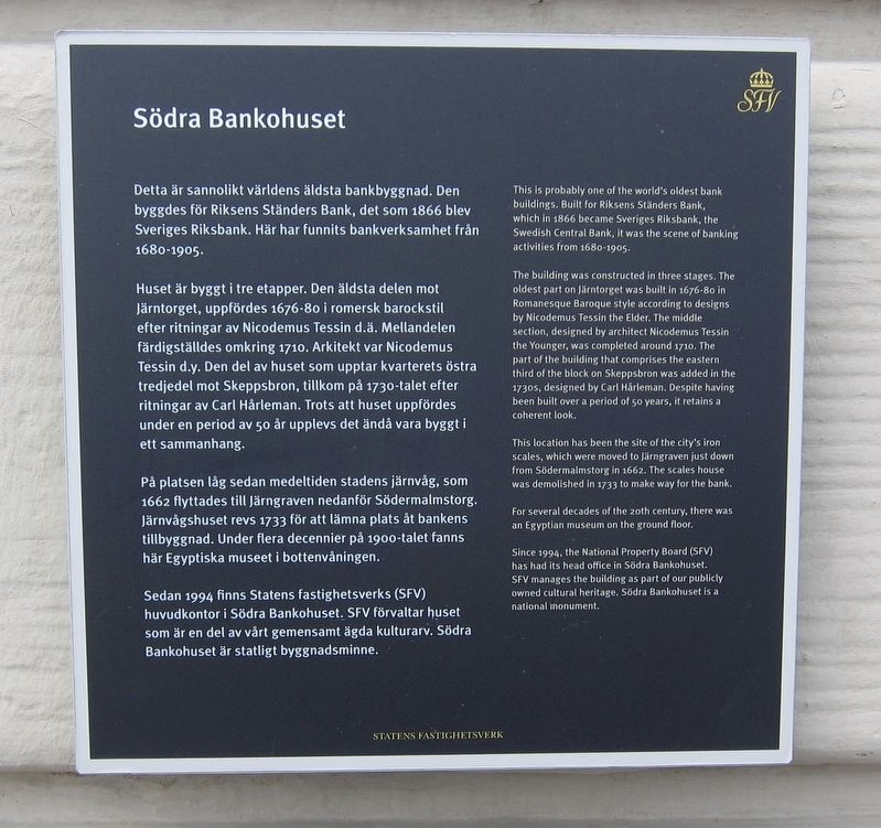 Södra Bankohuset / Southern Bank Building Marker image. Click for full size.