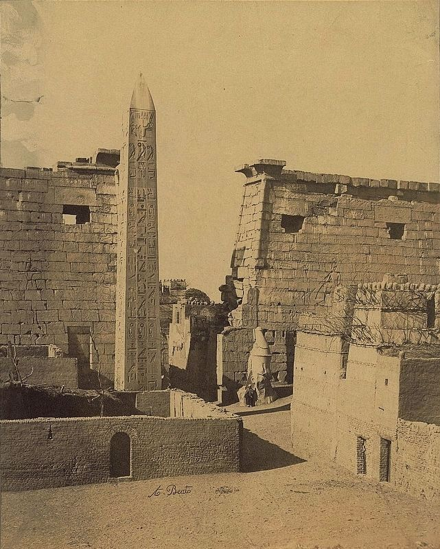 Pylons and obelisk, Thebes (Luxor), Egypt image. Click for full size.