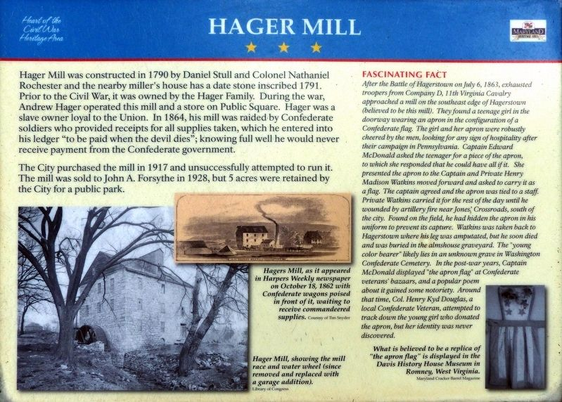 Hager Mill Marker image. Click for full size.