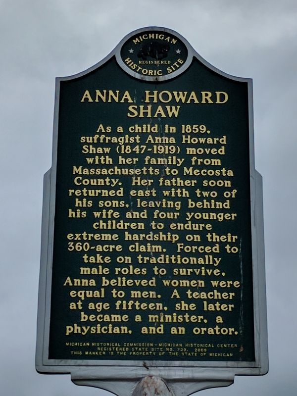 Anna Howard Shaw Marker image. Click for full size.