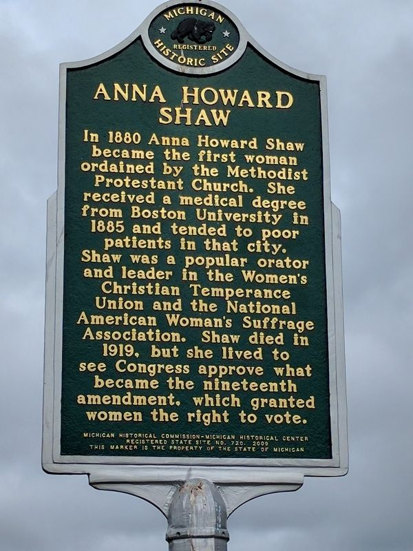 Anna Howard Shaw Marker - Side 2 image. Click for full size.