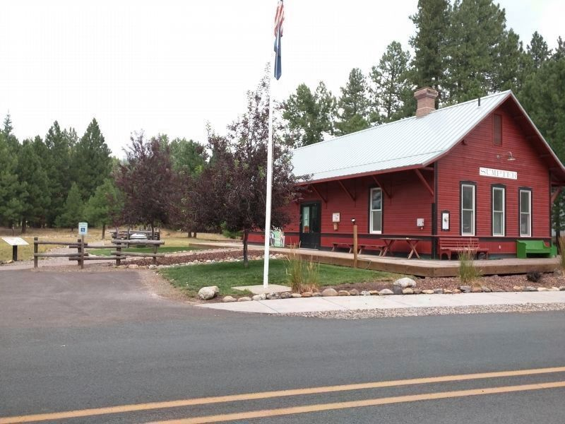 A Golden History Marker, Entrance to the Park and the Historic Sumpter Valley Railroad Depot image. Click for full size.