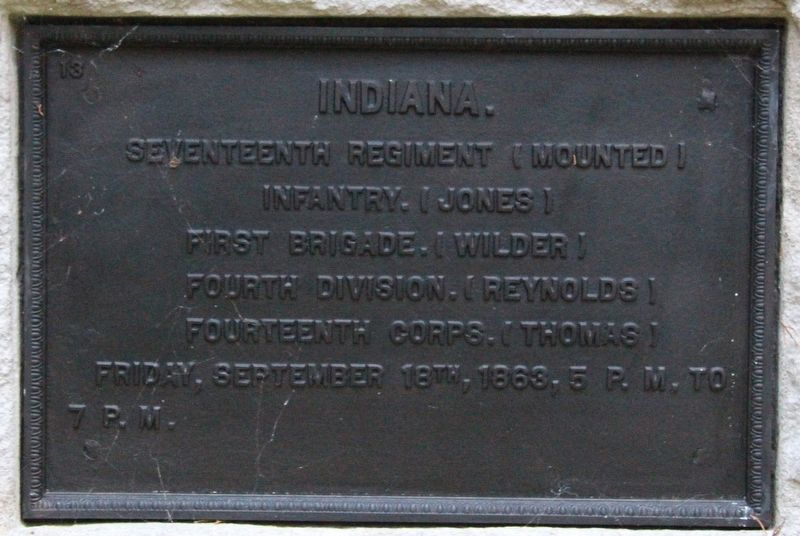 17th Indiana Mounted Infantry Marker image. Click for full size.