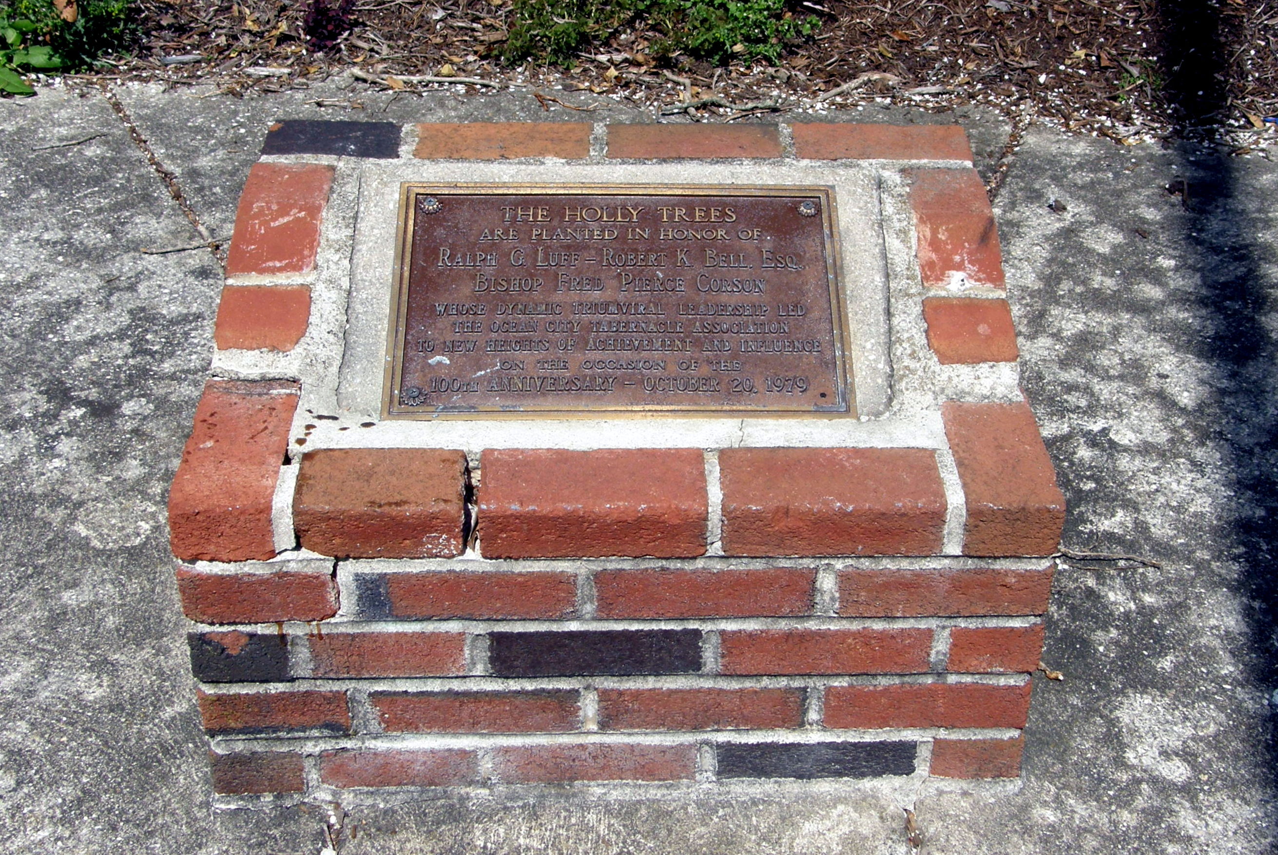 Ocean City Tabernacle Marker at the holly trees