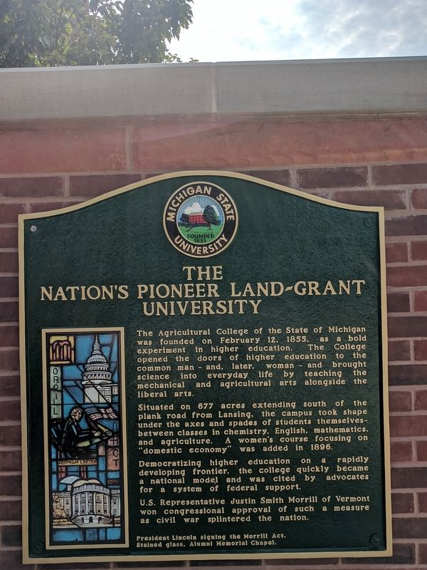 The Nation's Pioneer Land-Grant University Marker - Left Panel image. Click for full size.
