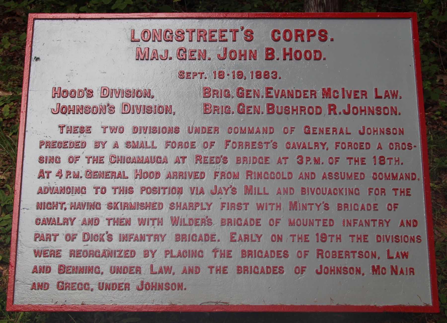 Longstreet's Corps Marker image. Click for full size.