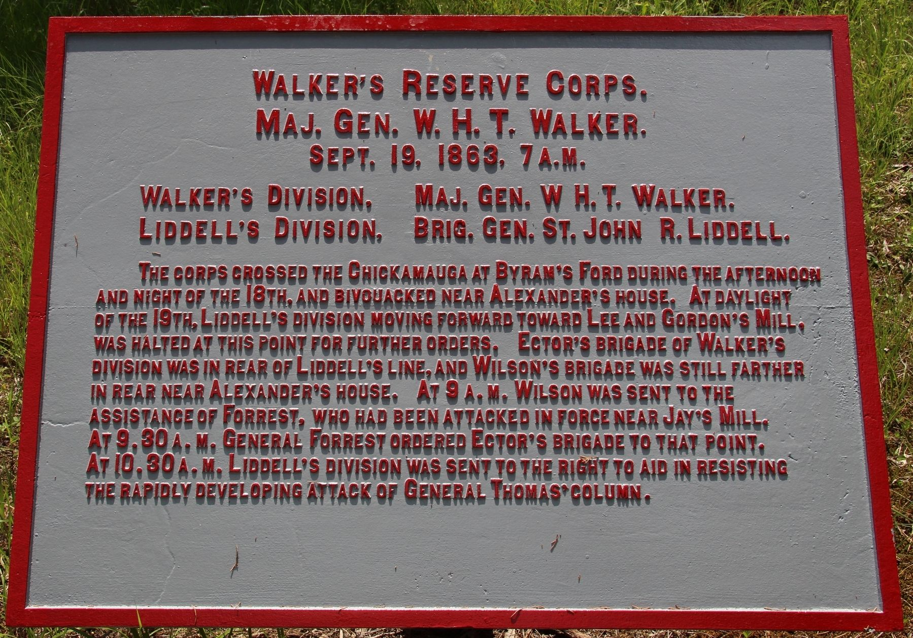Walker's Reserve Corps Marker image. Click for full size.