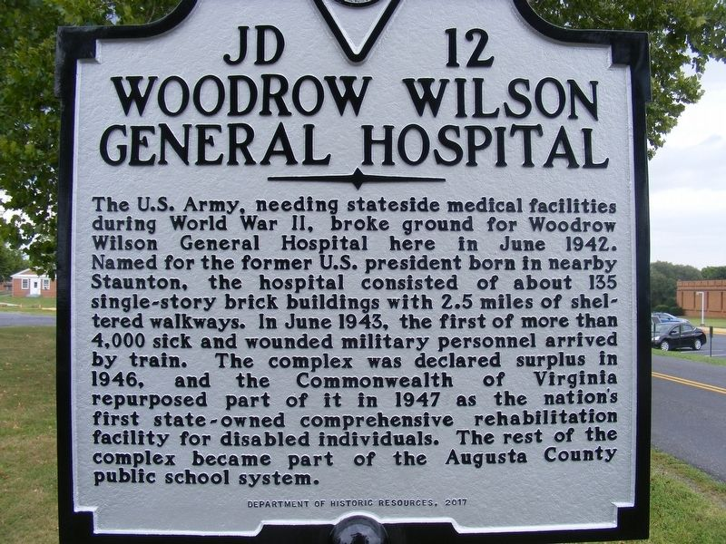 Woodrow Wilson General Hospital Marker image. Click for full size.