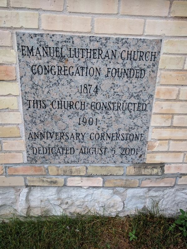 Emanuel Lutheran Church Cornerstone image. Click for full size.