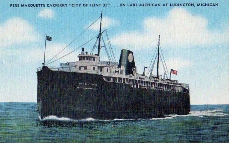 "<i>Pere Marquette Carferry ""City of Flint 32"" on Lake Michigan at Ludington, Michigan</i> image. Click for full size."