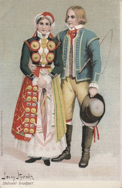 <i>Skänskt Brudpar</i> (Scanian Bridal Pair) image. Click for full size.