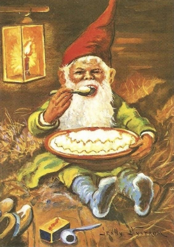 Gnome Eating Porridge image. Click for full size.