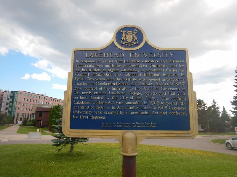 Lakehead University Marker image. Click for full size.