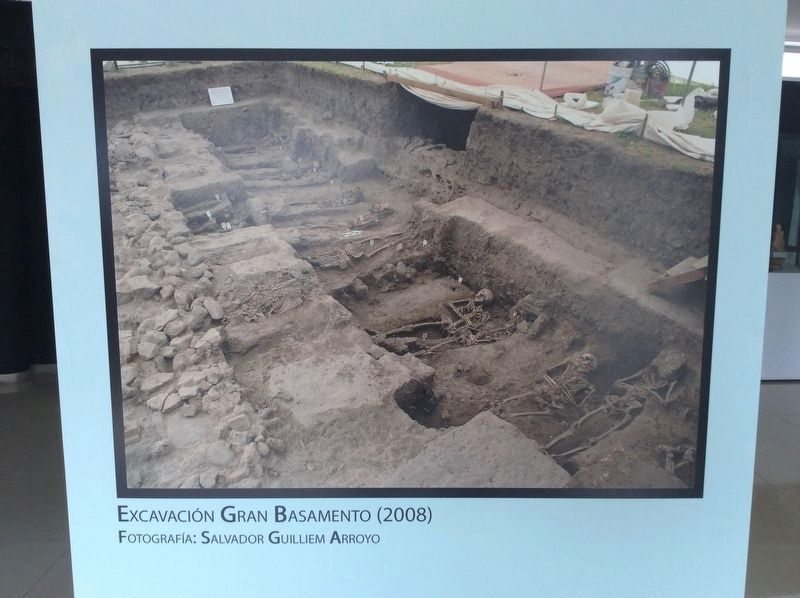 A photo from the small site museum at Tlatelolco of the Great Base excavations from 2008 image. Click for full size.