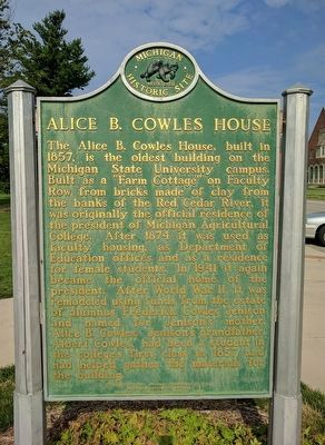 Alice B. Cowles House Marker - Side 1 image. Click for full size.