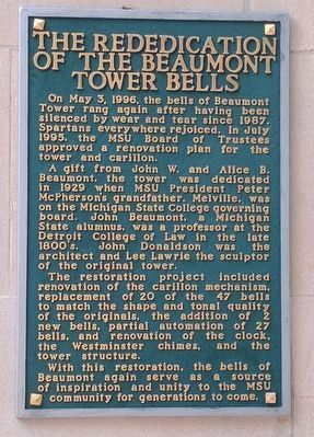 The Rededication of the Beaumont Tower Bells Marker image. Click for full size.
