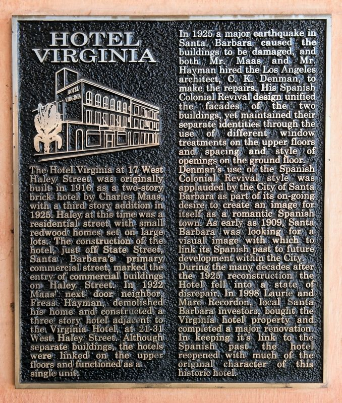 Hotel Virginia Marker image. Click for full size.