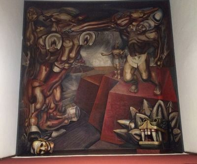"""Cuauhtémoc contra el mito"", 1944 mural by David Alfaro Siqueiros at the Tecpan image. Click for full size."